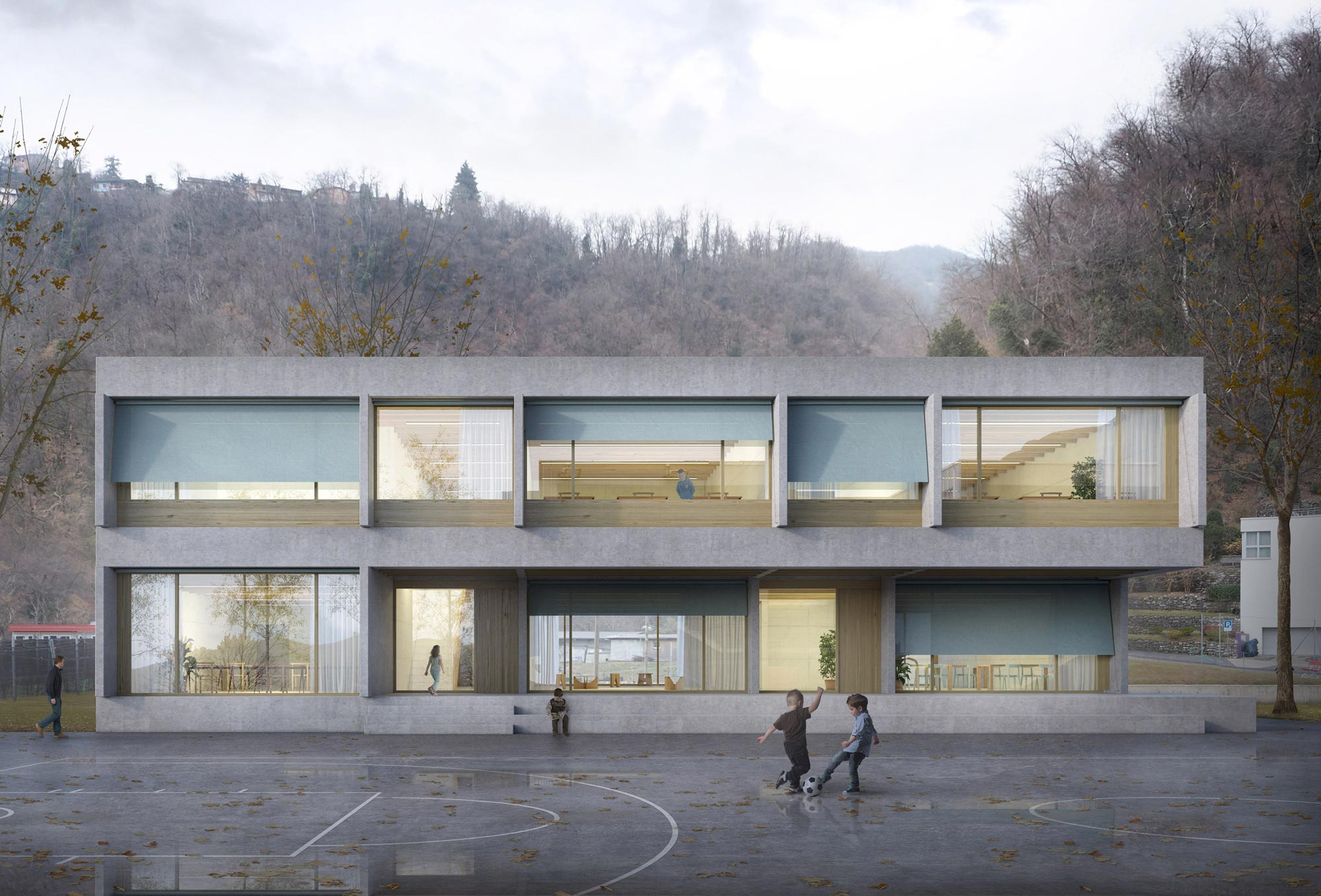 3rd Prize | Montemurro Aguiar Architetti | Competition for a school extension, Melano (CH)